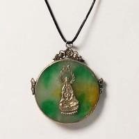 Round Longevity Jade Pendant Necklace