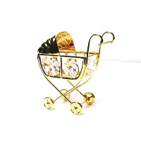 Precious Handcrafted 24K Gold-plated Austrian Crystal Baby Carriage Ornament