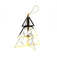 PRECIOUS HANDCRAFTED 24K GOLD-PLATED AUSTRIAN CRYSTAL CHRISTMAS TREE ORNAMENT