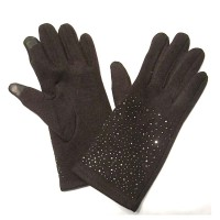 Brown Bejeweled Knit Gloves With Plush Fur Lining