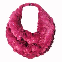 Soft Pink Sequin Faux Fur Loop Infinity Scarf