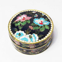 Exquisite Round Lucky Blue Floral Cloisonne' Box