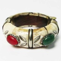 Floral Genuine Bone Silver Trim Statement Bangle