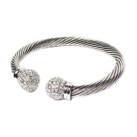 Silver Glittering Cable Rope Cuff Bracelet
