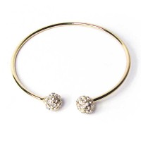Clear Cz Crystal Balls Gold Filled Bangle Bracelet