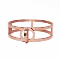 Modern Rose Gold Twist Double Bangle Bracelet