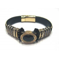 Black Gold Metallic Jeweled Bangle Bracelet