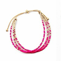 Fuchsia Pink Gold Beaded Bracelet