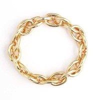 Iconic Gold Tone Chain Link Stretchy Bracelet