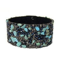 Pewter Turquoise Stone Chips Clasp Bracelet