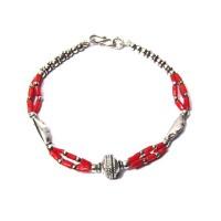 Genuine Tri-Strand Coral Link Sterling Silver Bracelet