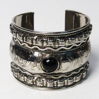 Silver Cuff Bangle Bracelet With Onyx