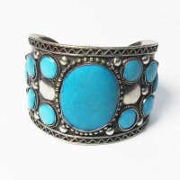 Turquoise Silver Cuff Bangle Bracelet
