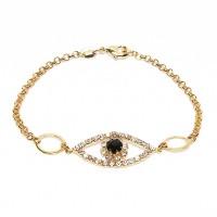 Evil Eye CZ Crystal Gold Vermeil Pendant Bracelet