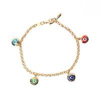 Dazzling Evil Eye Gold Vermeil Link Charm Bracelet