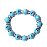 Sky Blue Evil Eye Stretchy Bracelet