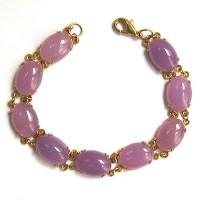 Lustrous Gold Tone Lavender Oval Jade Bracelet