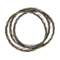 Luxurious Handcrafted Stack Of Two-Tone Twisted Bronzy Piano Wire Bracelet