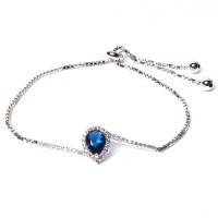Stunning Blue Cz Silver Dangle Link Bracelet