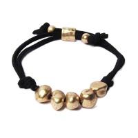 Stunning Vintage Gold Tone Nuggets Black Suede Pull Tie Bracelet