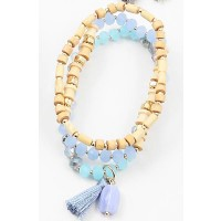 Crystal Blue Tri-Strand Wood Bead Tassel Stretchy Bracelet