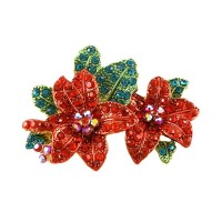 Red Poinsettia Flowers Chris Has Brooch