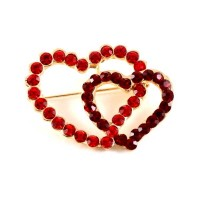 Romantic Red Double Hearts Crystal Brooch