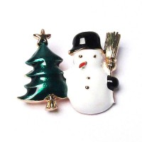 Holiday Snowman With Christmas Tree Pave Brooch