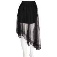 Designer Inspired Oblique Tiered Layer Black Tulle Mesh Skirt
