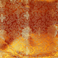 Golden Orange Chinese Silk Brocade With Scrolls Cushion Cover