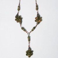 Tibetan Moss Green Jasper Silver Dangling Necklace