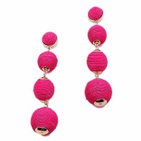 4 Tiers Jumbo Magenta Silky Sheen Disco Ball Statement Earrings