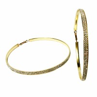 Dazzling Crystal Gold Oversized Hoop Earrings