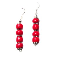 BOLD FLAME RED GENUINE CORAL SILVER DANGLE EARRINGS