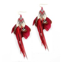 Burgundy Red Gold Feathers Bronzy Drop Statement Earrings