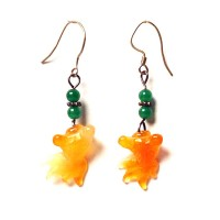 Carnelian And Green Jade Sliver Dangling Earrings
