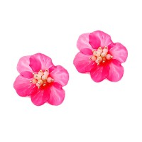 Translucent Pink Stud Flora Statement Earrings