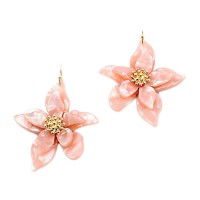 Gorgeous Jumbo Pink Flower Statement Earrings