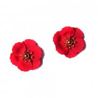 BRILLIANT RED FLOWER STUDS STATEMENT EARRINGS