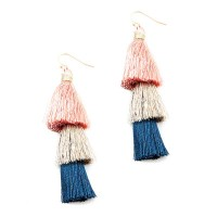 3 TIER MULTI COLOR SALMON PINK FRINGE STATEMENT EARRINGS