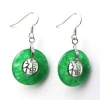 Green Jade Fook Dangle Loop Earrings