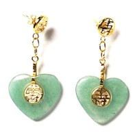 Classic 10K Gold Plated Heart Jade Fook &  Longevity Pendant Dangling Earrings