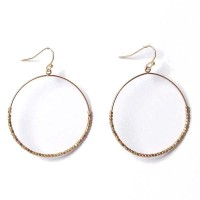 Gold Round Hammered Beaded Hoop Earrings