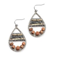 Pewter Gold Wood Beads Tear Drop Earrings