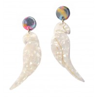 Jumbo Marble Resin Bird Dangle Statement Earrings