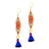 Stunning Orange Weave Blue Tassel Long Gold Statement Earrings