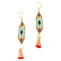 STUNNING BRONZY WEAVE PEACH TASSEL LONG GOLD STATEMENT EARRINGS