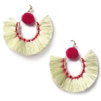 Cream Sandbar Fringe Statement Earrings