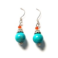 VINTAGE HANDMADE TURQUOISE BEAD FILIGREE DANGLING SILVER EARRINGS