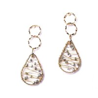 Double Loop Metallic Gold Wire Tear Drop Earrings